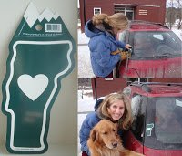 Brooke adds a Vermont heart sticker made by Websticker to her car