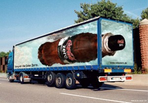 giant sticker advertising on side of truck