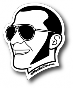 die cut sticker of DJ Wes Smith's head printed by Websticker.com