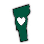 sticker that is the shape of Vermont with a heart in it manufactured by Websticker