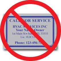 Don't use cheap, generic labels for HVAC services