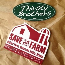 screen printed die cut stickers for Thirsty Brothers and Stowe Land Trust