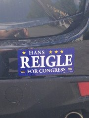 Political campaign bumper sticker made for Hans Reigle made by Websticker